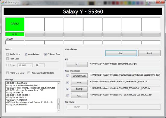 Close aplikasi Odin3 dan lepaskan kabel data Galaxy Y dari komputer